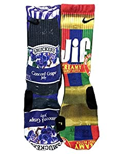 Custom Nike Elite Peanut Butter and Grape Jelly Socks