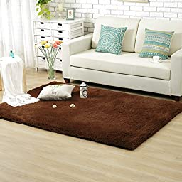 Sytian® Decorative 80*120cm Ultra Solft Morden Shaggy Area Rug Non-slip Bedroom Living Room Carpet Sitting-room Rug Kids Playing Mat Crawling Pad - 4.5cm Thick (Coffee)