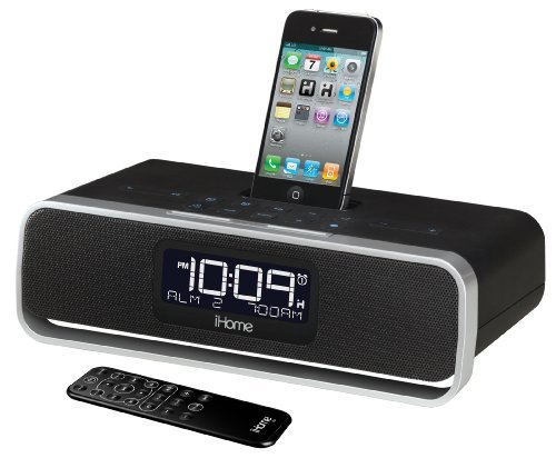 iHome iA92BZ App-enhanced Dual Alarm Stereo Clock Radio for iPhone/iPod with AM/FM presets