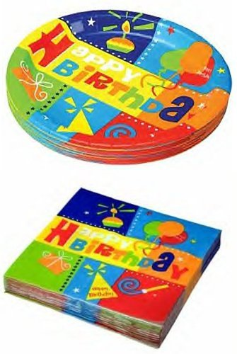 Happy Birthday Party Pack - 18 Plates & 20 Napkins St1 - 1