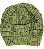 Trendy Warm Chunky Soft Stretch Cable Knit Slouchy Beanie Skully, Olive, One Size