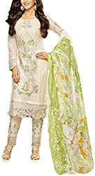 Binny Creation Women's Semi-Stitched Georgette Embroidered Salwar Suit.(light cream)
