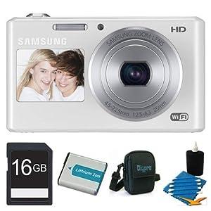 Samsung 8 GB Bundle DV300F 16 MP 5X Wi-Fi Digital Camera - Silver/Red