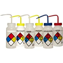 Scienceware 117160050 4-ColorWash Bottle, 6-Piece Assortment, Safety Labeled, Low Density Polyethylene, 500ml