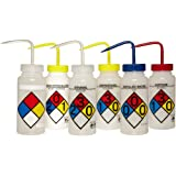 Bel-Art Scienceware  117160050, 500ml Capacity Low Density Polyethylene 4-Color Wide-Mouth Right-to-Know Wash Bottle  (Assortment Pack of 6)