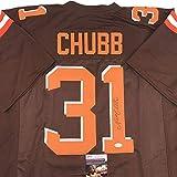 Autographed/Signed Nick Chubb Cleveland Football Brown Jersey JSA COA