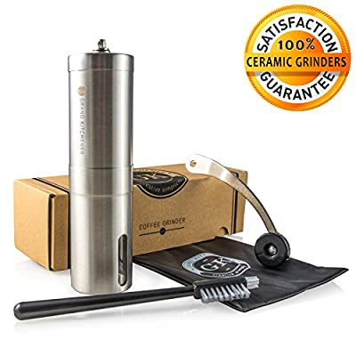 Manual Ceramic Burr Coffee Bean Grinder with Hand Crank in Stainless Steel; High Quality Premium Coffee Burr Mill! 100% Satisfaction Guaranteed! £1 per sale will be donated to African Charity! By Grand Kitchener