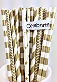 METALLIC GOLD, Vintage Paper Drinking Straws - HOLIDAY VALUE PACK - 4 Designs - 100 CT.