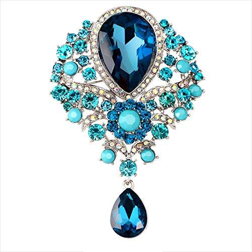 Contever® Vintage Gioielli di Goccia d'acqua Pendente Spilla Perno con Strass Cristallo Grande Floreale Decorazioni Abito Da Sera -- Pavone blu