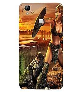ColourCraft Warrior Girl Design Back Case Cover for VIVO V3 MAX