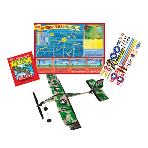 T.S. Shure Rubber Band Powered Defense Flier Model Plane Kit - 1
