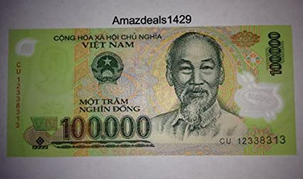 100,000 Vietnamese Vietnam Polymer Dong Uncirculated UNC Banknote