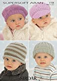 Sirdar Supersoft Aran Baby Hats Pattern 1728 Birth to 6 years