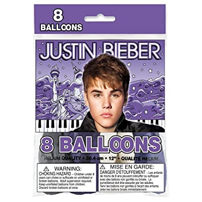 "12"" Latex Justin Bieber Balloons, 8ct"