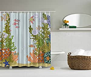 Tropical Fish Shower Curtain For Kids Fabric With Hooks 69 X 70 Home Kitchen