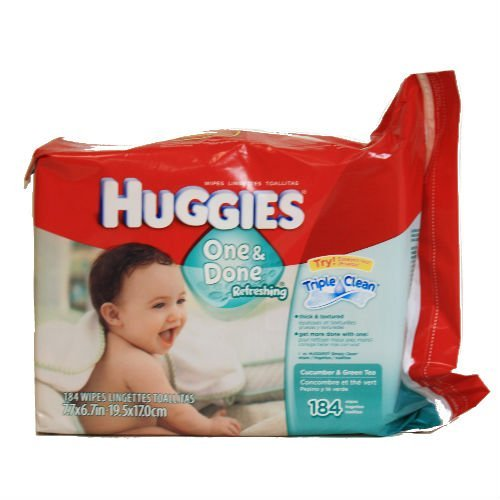 Huggies, One & Done Refreshing Wipes, Cucumber & Green Tea - 184 ea, 2 Pack