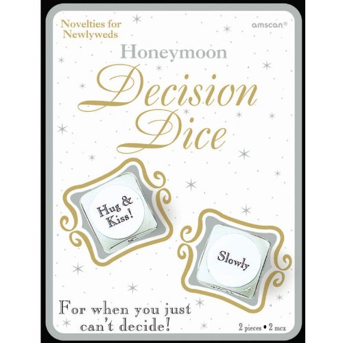 "Amscan Avant Garde Honeymoon Decision Dice Bridal Shower Party Novelty Favors, 5-3/4 x 4-3/8"", White/Black"