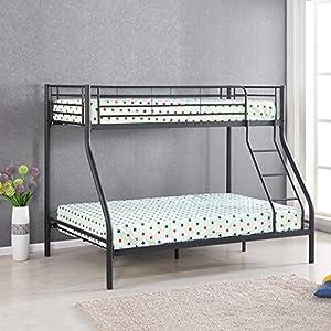 iKayaa Modern Twin-Over-Queen Metal Bunk Bed in Black