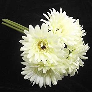ARTIFICIAL FLOWERS - a handted bunch of 6 ivory gerbera