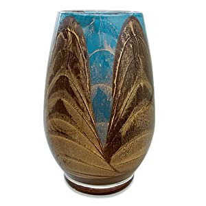 Northern Lights Candles Esque Harmony Vase, Mahogany and Turquoise