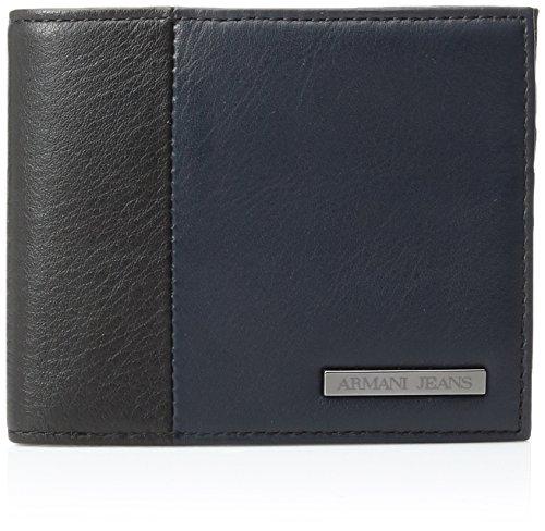 Armani-Jeans-Mens-Genuine-Leather-Color-Block-Bi-Fold-Wallet