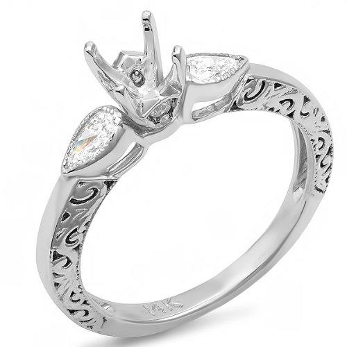 The Bridal Ring Sets 0 33 Carat ctw 14k White Gold Round & Pear Diamon