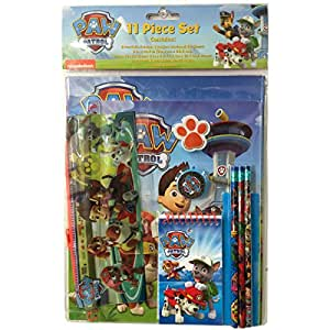 set 11 pcs cole la pat patrouille paw patrol trousse crayons gomme auto et moto. Black Bedroom Furniture Sets. Home Design Ideas