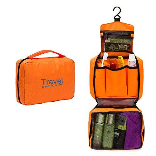 Blueidea® Moda Pieghevole Cosmetici Borsa da Viaggio Borsa da Toilette Borsa Trucco Dell'Organizzatore del Sacchetto di Big Lavaggio Requisiti Custodia con Gancio per Donne (Arancione)