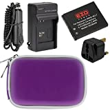 EZOPower Panasonic DMW-BCL7 Battery + Charger + Purple Compact Eva Case +UK Plug for Panasonic Lumix DMC-XS3, XS1, SZ8, SZ9, SZ3, FS50, F5 Digital Camera