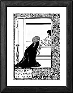 Framed Print of Iseult treats Tristan. Engraving from Le Morte aquot