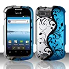 Windowcell for ZTE Valet Z665c / ZTE Fury N850 / Director N850l (Straight Talk/sprint/us Cellular) Rubberized Design Cover - Blue Vines