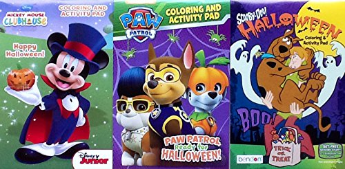 [3 Halloween Coloring & Activity Flip Pads ~ Paw Patrol Scooby-Doo & Mickey Mouse] (Free Halloween Word Search)