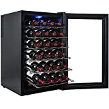 AKDYxAE 28 Bottle Single Zone Thermoelectric Freestanding Wine Cooler Cellar Chiller Refrigerator Fridge Quiet Operation