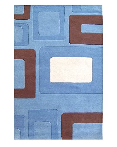 zNz Rugs Gallery Alliyah Handmade Multi Boxes New Zealand Blend Wool Rug, Off-White/Tobacco Brown, 5...