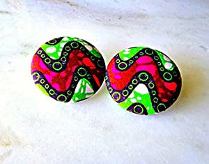 Green African Fabric Large Button Earrings, Tribal Fabric Stud Earrings, Ethnic Jewelry