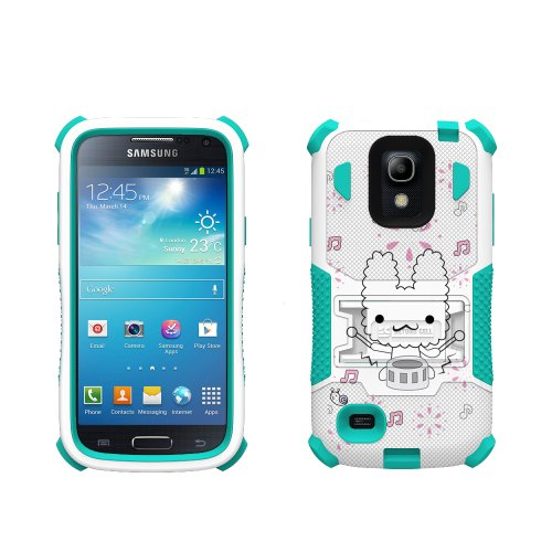 Beyond Cell Tri Shield® Durable Hybrid Hard Shell & Silicone Gel Case For Samsung Galaxy S4 Mini - Drum Stars - White/Light Blue - Retail Packaging + (Free Gift Beyond Cell Screen Protector & Micro Usb Data Cable Included)