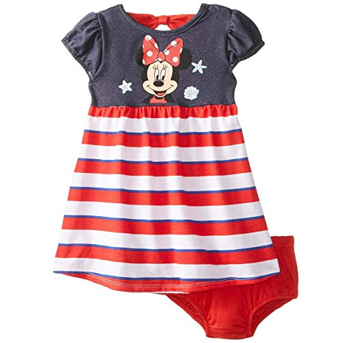Disney Baby-Girls Infant Minnie Mouse Americana Dress with Panty, Red, 18 Months