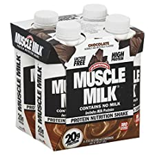 Muscle Milk Protein Nutrition Shake, Chocolate, 4 - 11 fl oz (330 ml) containers 44 oz (1.32 lt)