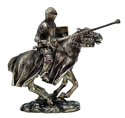 Medieval Jousting Knight On Cavalry Horse Charging Statue Lance Fight