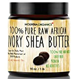Shea Butter - Molivera Organics 16 Oz. Premium Raw Unrefined African Organic Grade A Ivory Shea Butter for Natural Skin Care, Hair Care and Body Butters - 100% Pure and Double Filtered - Great for Acne, Stretch Marks, Eczema Etc - Great for Daily Moisturizer and For DIY Recipes - Karite SheaButter From Ghana - UV Resistant BPA Free Jar - 100% Satisfaction Guarantee