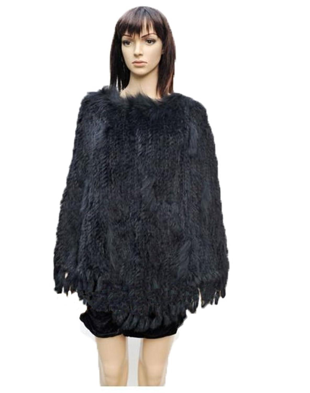 YRLOVE Mode Damen Echter Gestricktes kanichen Pelz Stahl Kap Poncho Mantel online bestellen