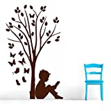 Decal Style Boy Reading Under Tree & ButterFlies Wall Sticker Medium Size-15*25 Inch - B00WSNFCB4