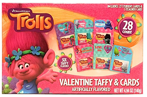 Trolls Valentine's Day Cards and Taffy