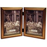 Lawrence Frames Antique Gold Wood Double 5x7 Picture Frame - Classic Design