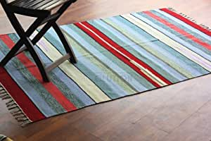 Handmade 120x180 cm Flat Weave Indian Dhurrie Rug, Multi Colour, 100% Pure Cotton, Product #1543