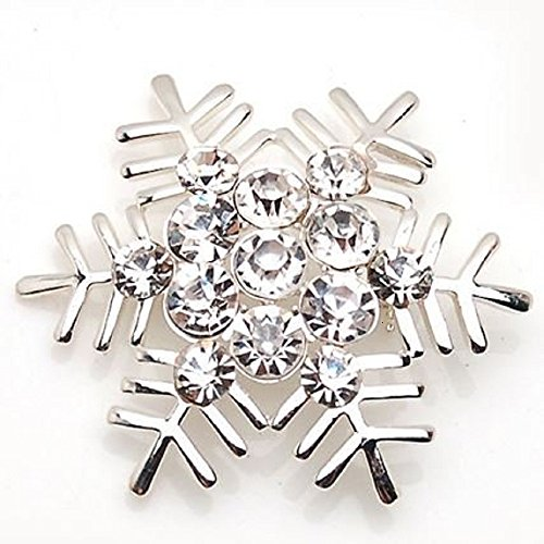 シンプルデザイン 美しい 輝き 雪の結晶 ブローチ クリスマス (シルバー)