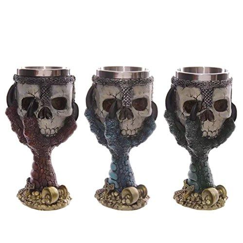 Gobelet en Acier Inoxydable 3D Crâne Squelette Bière Vin Griffe Halloween Vert - Rouge