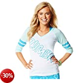 Zumba Fitness Laces Out Football - T-shirt da donna, Bianco (bianco/azzurro), S
