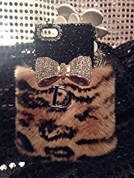 Bling Crystal Black Leopard Furry Rabbit Fur Bow \