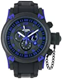 Invicta Men's Russian Diver 0518 Black Polyurethane Swiss Quartz Watch with Black Dial